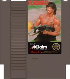 Cartridge artwork for Rambo on the Nintendo NES.