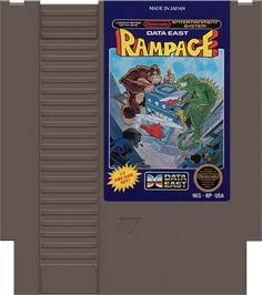 Cartridge artwork for Rampage on the Nintendo NES.