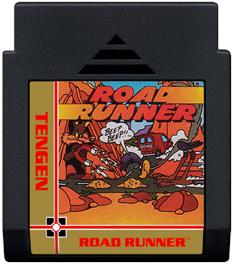 Cartridge artwork for Road Runner on the Nintendo NES.
