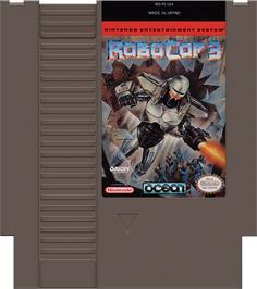 Cartridge artwork for Robocop 3 on the Nintendo NES.