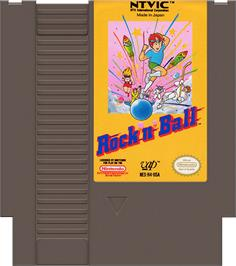 Cartridge artwork for Rock 'n Ball on the Nintendo NES.
