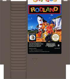 Cartridge artwork for Rodland on the Nintendo NES.