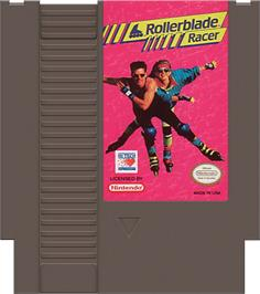 Cartridge artwork for Rollerblade Racer on the Nintendo NES.