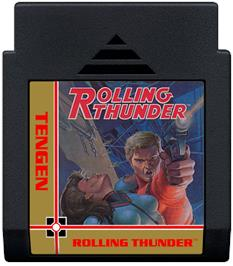 Cartridge artwork for Rolling Thunder on the Nintendo NES.