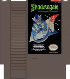 Cartridge artwork for Shadowgate on the Nintendo NES.