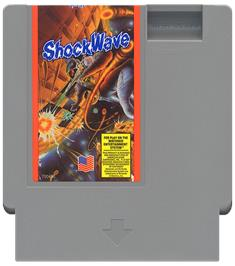 Cartridge artwork for Shock Wave on the Nintendo NES.