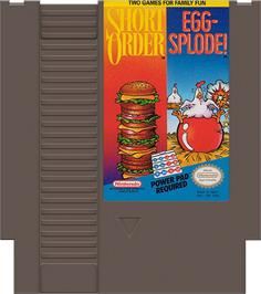 Cartridge artwork for Short Order & Eggsplode on the Nintendo NES.