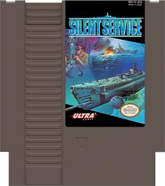 Cartridge artwork for Silent Service on the Nintendo NES.
