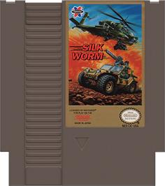 Cartridge artwork for Silk Worm on the Nintendo NES.