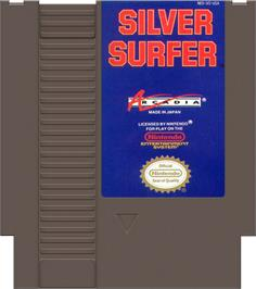 Cartridge artwork for Silver Surfer on the Nintendo NES.
