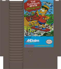 Cartridge artwork for Simpsons: Bart vs. the Space Mutants on the Nintendo NES.