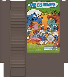 Cartridge artwork for Smurfs on the Nintendo NES.