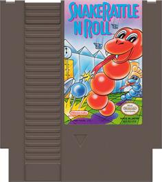 Cartridge artwork for Snake Rattle 'n Roll on the Nintendo NES.
