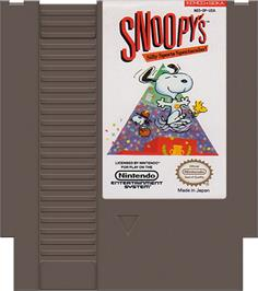 Cartridge artwork for Snoopy's Silly Sports Spectacular on the Nintendo NES.