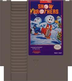Cartridge artwork for Snow Bros. Nick & Tom on the Nintendo NES.