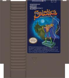Cartridge artwork for Solstice: The Quest for the Staff of Demnos on the Nintendo NES.
