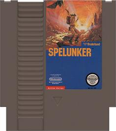 Cartridge artwork for Spelunker on the Nintendo NES.