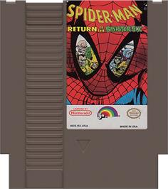 Cartridge artwork for Spider-Man: Return of the Sinister Six on the Nintendo NES.