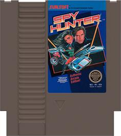 Cartridge artwork for Spy Hunter on the Nintendo NES.