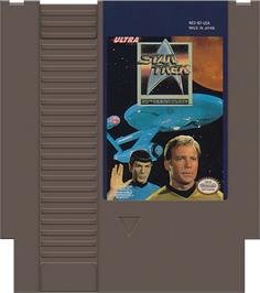 Cartridge artwork for Star Trek 25th Anniversary on the Nintendo NES.
