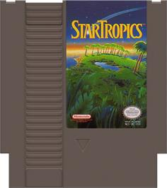 Cartridge artwork for Star Tropics on the Nintendo NES.
