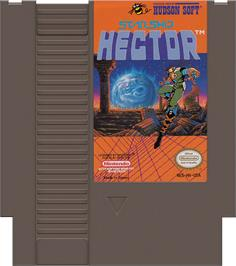 Cartridge artwork for Starship Hector on the Nintendo NES.