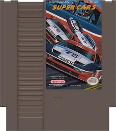 Cartridge artwork for Super Cars on the Nintendo NES.