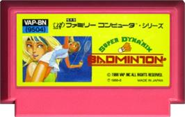 Cartridge artwork for Super Dyna'mix Badminton on the Nintendo NES.
