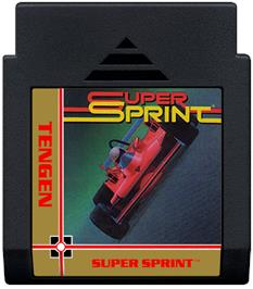 Cartridge artwork for Super Sprint on the Nintendo NES.