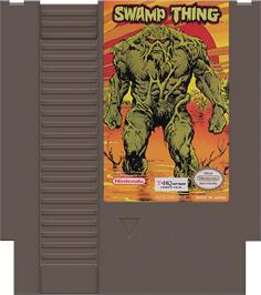 Cartridge artwork for Swamp Thing on the Nintendo NES.