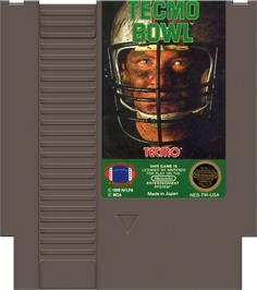 Cartridge artwork for Tecmo Bowl on the Nintendo NES.