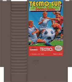 Cartridge artwork for Tecmo Cup on the Nintendo NES.