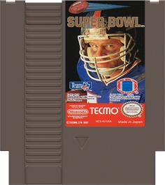 Cartridge artwork for Tecmo Super Bowl on the Nintendo NES.