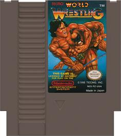 Cartridge artwork for Tecmo World Wrestling on the Nintendo NES.