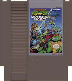 Cartridge artwork for Teenage Mutant Ninja Turtles 3: The Manhattan Project on the Nintendo NES.
