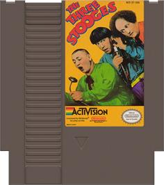 Cartridge artwork for Three Stooges on the Nintendo NES.