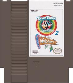 Cartridge artwork for Tiny Toon Adventures 2: Trouble in Wackyland on the Nintendo NES.