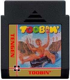 Cartridge artwork for Toobin' on the Nintendo NES.