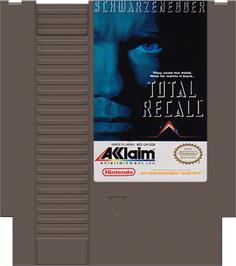 Cartridge artwork for Total Recall on the Nintendo NES.