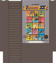Cartridge artwork for Track & Field 2 on the Nintendo NES.