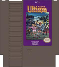 Cartridge artwork for Ultima III: Exodus on the Nintendo NES.