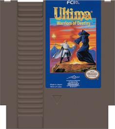 Cartridge artwork for Ultima V: Warriors of Destiny on the Nintendo NES.