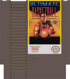 Cartridge artwork for Ultimate Basketball on the Nintendo NES.