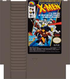Cartridge artwork for Uncanny X-Men on the Nintendo NES.