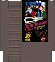 Cartridge artwork for Urban Champion on the Nintendo NES.
