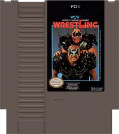 Cartridge artwork for WCW: World Championship Wrestling on the Nintendo NES.