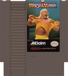 Cartridge artwork for WWF Wrestlemania: Steel Cage Challenge on the Nintendo NES.