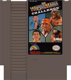 Cartridge artwork for WWF Wrestlemania Challenge on the Nintendo NES.