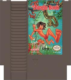 Cartridge artwork for Walt Disney's The Jungle Book on the Nintendo NES.