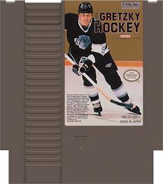 Cartridge artwork for Wayne Gretzky Hockey on the Nintendo NES.